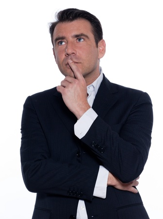 hesitancy: studio portrait on white background of a hansdsome pensive man