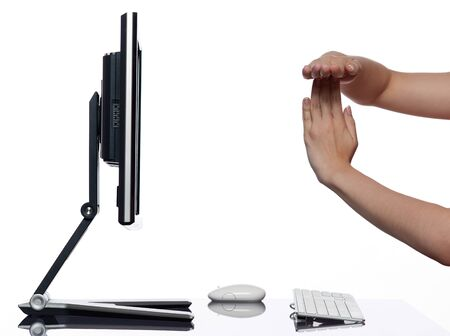 timeout: communication between human hand and a computer display monitor on isolated white background expressing timeout gesture concept