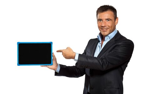 one caucasian business man pointing blackboard message copy space in studio isolated on white background photo