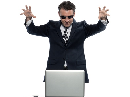 man caucasian hacker computer attack isolated studio on white background Stock Photo - 11752926