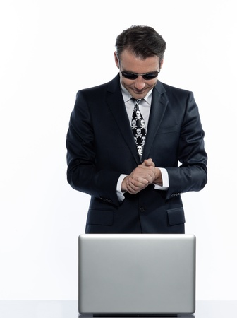 man caucasian hacker computer attack isolated studio on white background Stock Photo - 11752885