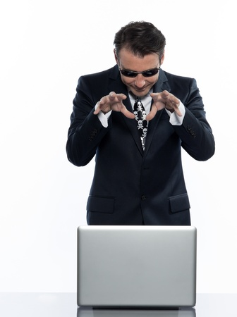 man caucasian hacker computer attack isolated studio on white background Stock Photo - 11752887