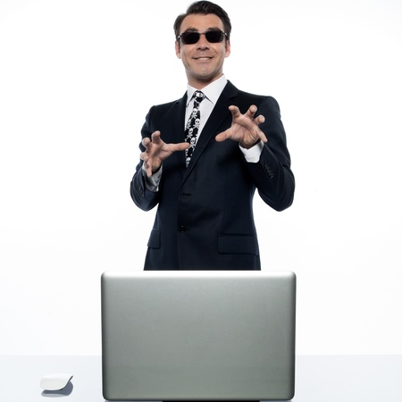 man computer hacker  caucasian in studio isolated on white background photo