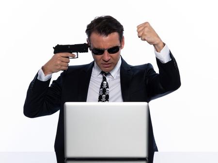 menacing: man caucasian hacker computer attack isolated studio on white background