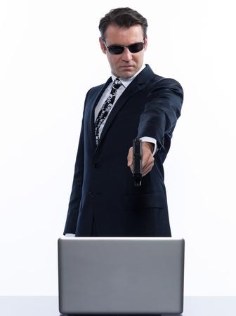 man caucasian hacker computer attack isolated studio on white background Stock Photo - 11752934