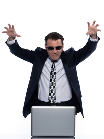 man caucasian hacker computer attack isolated studio on white background photo