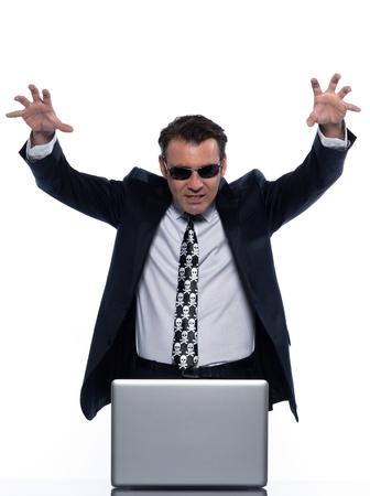 man caucasian hacker computer attack isolated studio on white background Stock Photo - 11752927