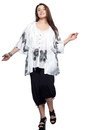 large build caucasian woman full length spring summer fashion models clothes clothings on studio isolated plain background photo