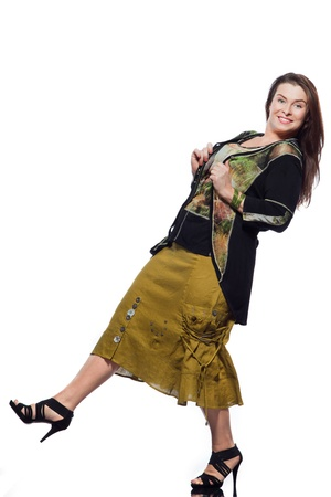 big women: large build caucasian woman full length spring summer fashion models clothes clothings on studio isolated plain background
