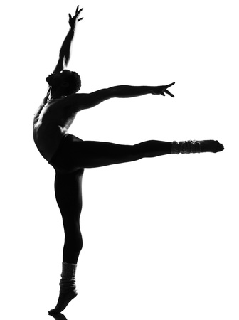 one  african man ballet dancer dancing on studio isolated white background Stock Photo - 11753074
