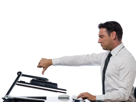 caucasian man and a computer display monitor on isolated white background expressing  bug  conflict rejection concept Stock Photo - 11752919