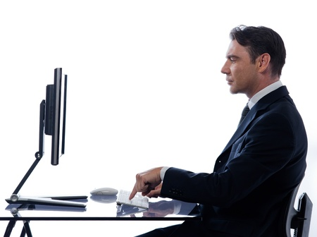 caucasian business man computer  computing isolated studio on white background Stock Photo - 11752932