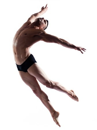 caucasian man gymnastic  leap posture isolated studio on white background
