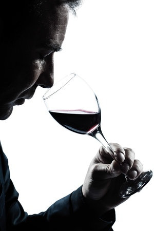 tasting: one caucasian man portrait silhouette smelling red wine glass in studio isolated white background