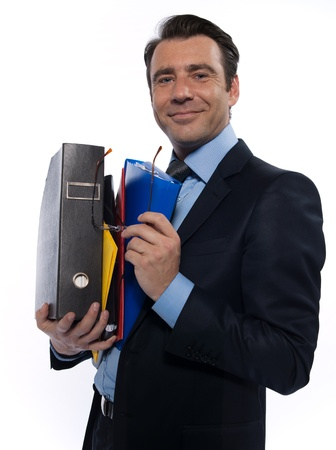 man businessman holding files confident arrogant isolated studio on white background photo