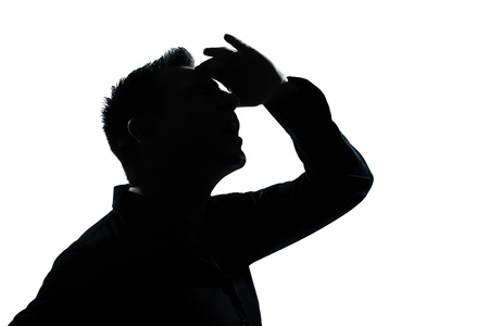 eyes open: one caucasian man portrait looking up forward gesture mouth open silhouette in studio isolated white background