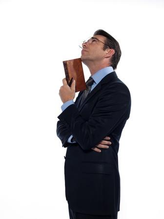 brainy: man caucasian teacher professor reading holding ancient book thinking isolated studio on white background