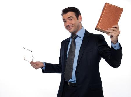 beckon: man caucasian teacher professor teaching rising book isolated studio on white background Stock Photo