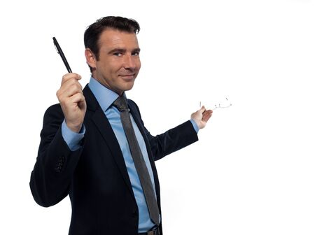 sales executive: one caucasian man professor teaching beckoning pointing empty copy space  isolated studio on white background Stock Photo