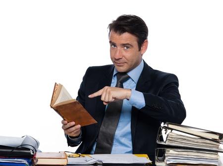 beckon: man caucasian teacher professor tutoring book isolated studio on white background Stock Photo