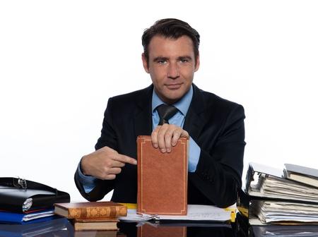 man caucasian teacher professor tutoring isolated studio on white background photo