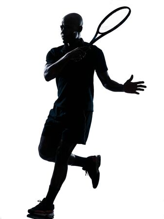 tennis player: man african afro american playing tennis player forehand on studio isolated on white background Stock Photo