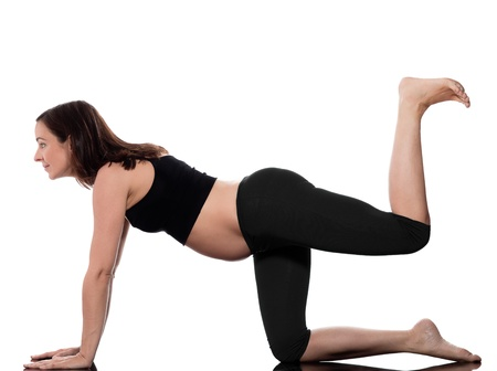 pregnant caucasian woman workout training isolated studio on white background