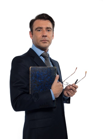 man caucasian teacher professor holding book isolated studio on white background photo