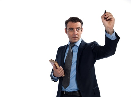 profesor: se�or profe cauc�sico antiguo profesor de literatura en el estudio de placa aislada en el fondo blanco