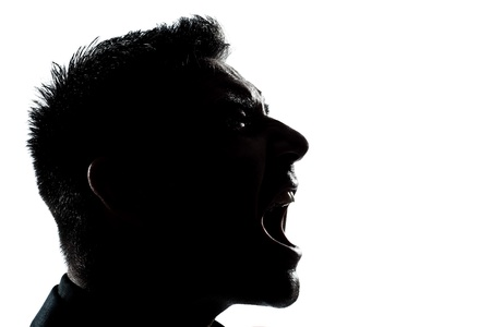 man screaming: one caucasian man portrait silhouette profile screaming angry in studio isolated white background