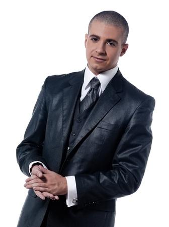 shaved head: caucasian man businessman smile  portrait isolated studio on white background
