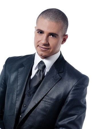 shaved head: caucasian man businessman nice smile portrait isolated studio on white background Stock Photo