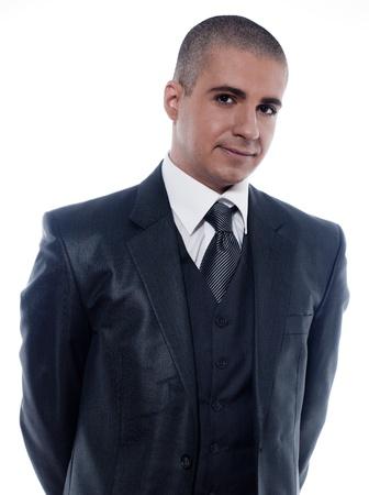 caucasian man businessman smiling cheerful portrait isolated studio on white background photo