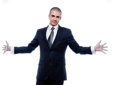 caucasian man businessman welcoming open arms portrait isolated studio on white background photo