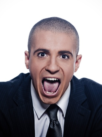 shaved head: caucasian man businessman screaming portrait isolated studio on white background