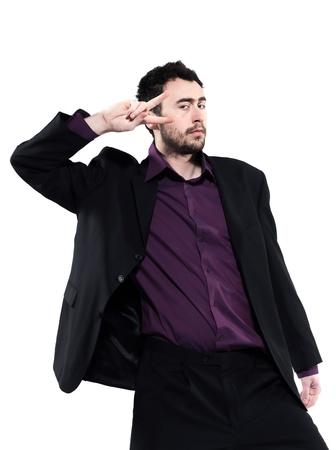 funny bearded man: strange man attitude man on isolated white background Stock Photo