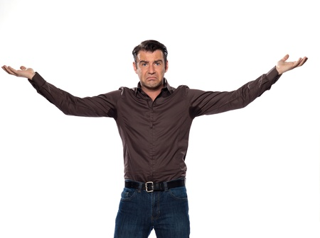 man sweating stain annoyed displeased isolated studio on white background Stock Photo - 11752988