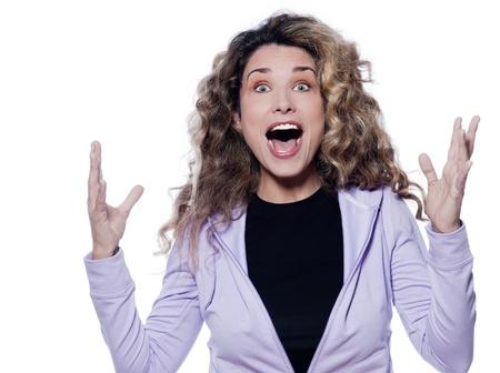 shouting girl: caucasian woman joyful portrait isolated studio on white background