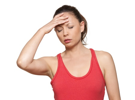 forgot: Portrait of beautiful Asian woman with headache in studio isolated on white background Stock Photo