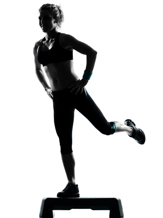 one woman exercising workout fitness aerobic exercise posture on studio isolated white background photo