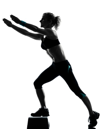 step by step: one woman exercising workout fitness aerobic exercise posture on studio isolated white background