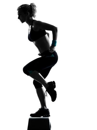 one woman exercising workout fitness aerobic exercise posture on studio isolated white background Stock Photo - 11753078