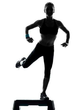 one woman exercising workout fitness aerobic exercise posture on studio isolated white background photo
