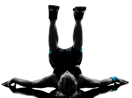 abdominals: one woman exercising workout fitness aerobic exercise abdominals push ups posture on studio isolated white background Stock Photo