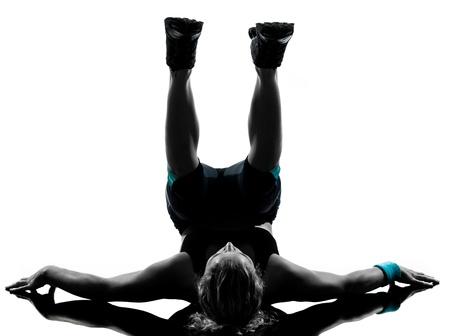 one woman exercising workout fitness aerobic exercise abdominals push ups posture on studio isolated white background Stock Photo - 11753020