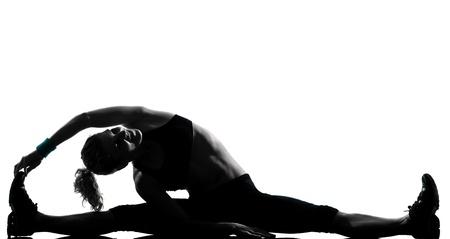 one woman exercising workout fitness aerobic exercise posture on studio isolated white background Stock Photo - 11747981