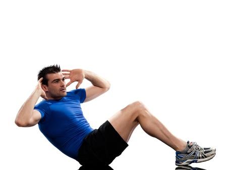 one man stitting on floor on Abdominals rotation push ups workout posture on studio isolated  white background photo