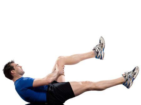 abdominals: man on Abdominals workout posture on white background