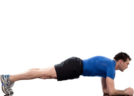 plank position: man on Abdominals workout Basic Plank posture on white background