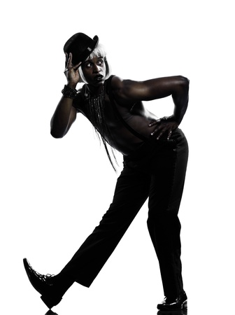 one  african man dancer dancing cabaret burlesque on studio isolated white background Stock Photo - 11752590